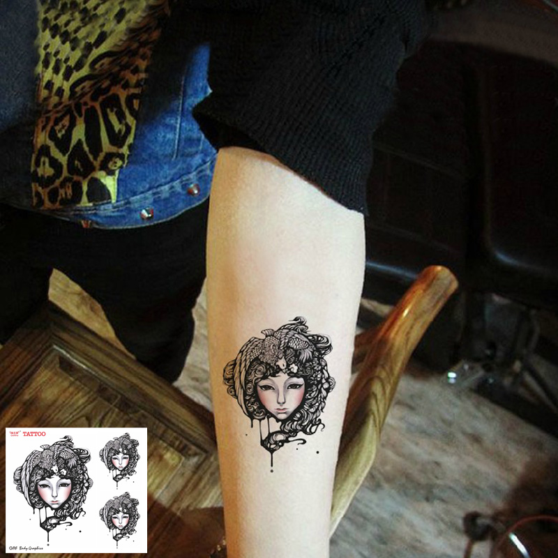 Temporary Tattoos Sticker for Women Arm Leg Sexy Black Small Traditional Lady Designs Fake Waterproof Long Lasting Body Art