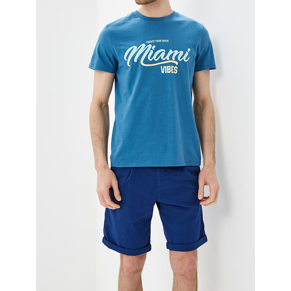 T-Shirts MODIS M181M00260 men shirt cotton polo for for male TmallFS v neck flower and bird print plus size short sleeve men s t shirt