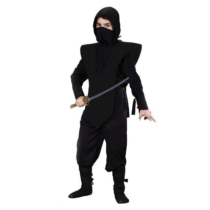 Black Ninja Japanese Warrior kids boys fancy dress Halloween party book costume