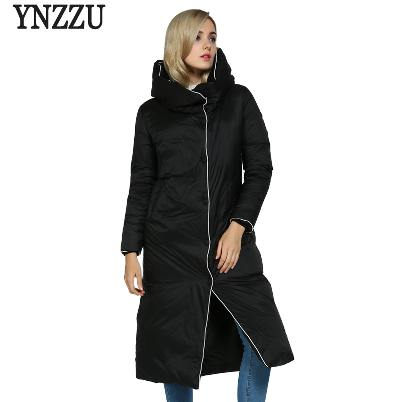 New Winter Collection 2017 Womens Extra Long Down Jacket Loose Hooded Warm Jacket Coat for Women High Quality AO262