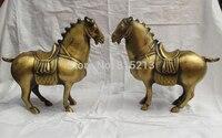 Bi0011643 Китайский классический бронза ручной работы фэн шуй Тан боевой конь СТАТУЯ пара