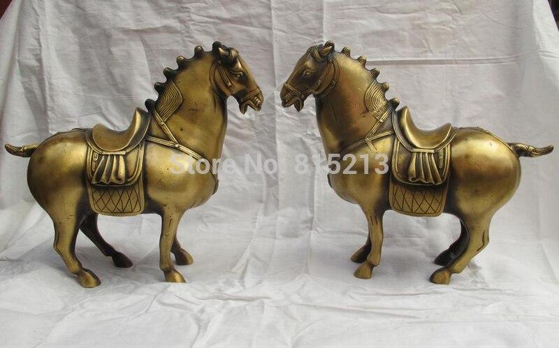 Bi0011643 chinois classique Bronze travail manuel Feng shui Tang guerre cheval statue paireBi0011643 chinois classique Bronze travail manuel Feng shui Tang guerre cheval statue paire
