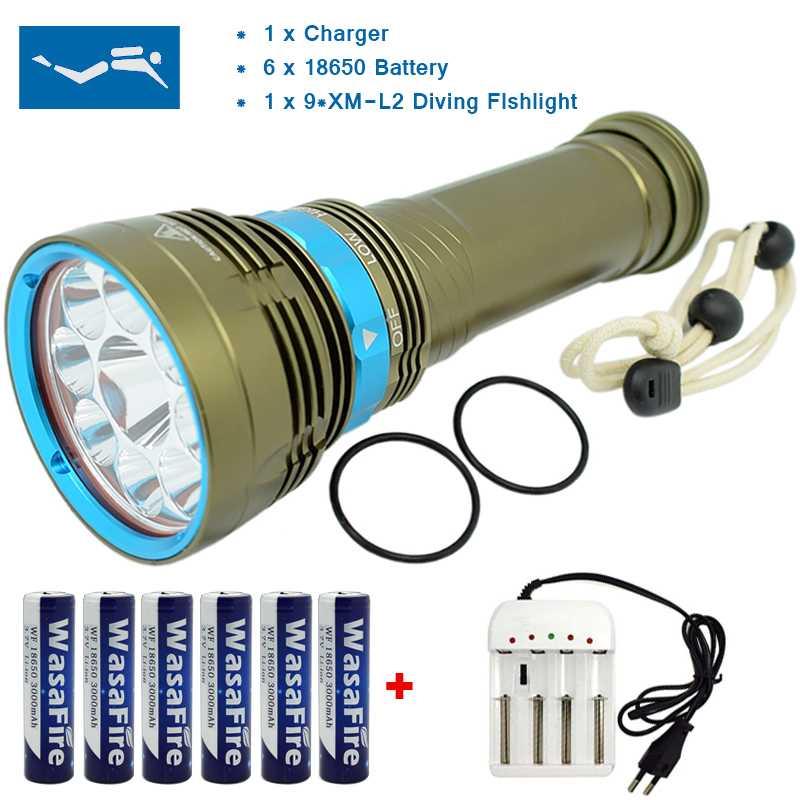Светодио дный Дайвинг фонарик 20000 люмен XM-L2 U2 лампы Подводное свет Подводные 100 м погружения факел с 18650 Батарея + Зарядное устройство для охо...