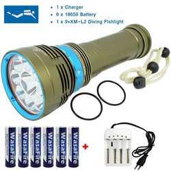 Linterna de buceo LED 20000 Lumen XM-L2 U2 lámpara buceo luz submarina 100 M buceo antorcha con 18650 batería + cargador para la caza