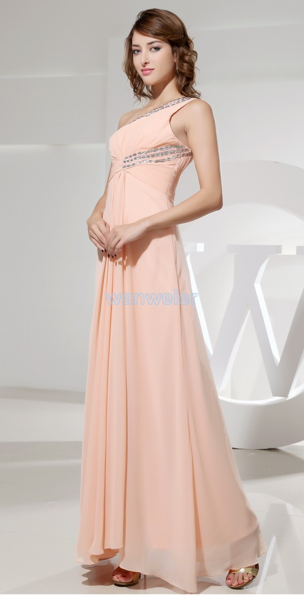 free shipping maxi dresses long 2014 new cembellishments for fabrics hiffon one sholder plus size designer couture evening gowns in Evening Dresses from Weddings Events