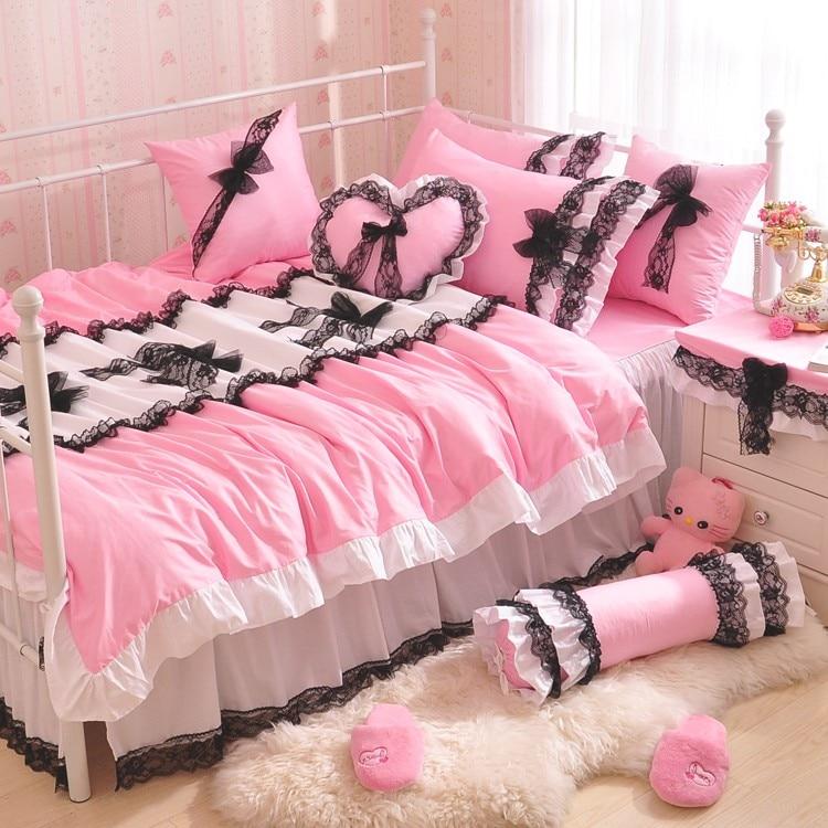 Solid Color Princess Black Lace Bow Quilt/Duvet Cover 4pc Pink Ruffles Bedspread Bed Skirt 100% Cotton Bedding Set Home Textile