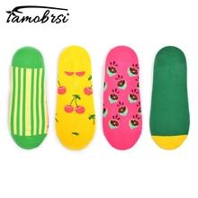 Happy Crew Street Style Watermelon,Corn,Cherry,Lemon Socks Ankle Cotton Short Summer Funny Women Men Colorful Boat Socks Male цена
