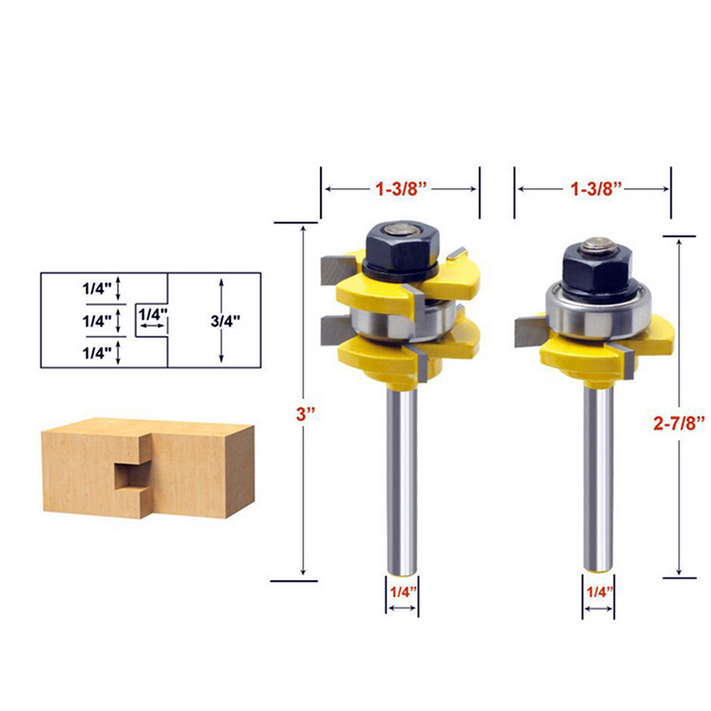 1/4 Shank 2 Bit Tongue and Groove Router Bit Set Wood Milling Cutter Flooring Knife Woodworking Accessories 2pcs tongue and groove router bit 1 4 shank milling cutter set woodworking 3 4 stock wood tools drill set