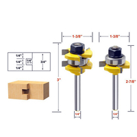 2pcs Tongue Groove Router Bit Set 3 4 Stock 1 4 Shank For Woodworking Cutting Power