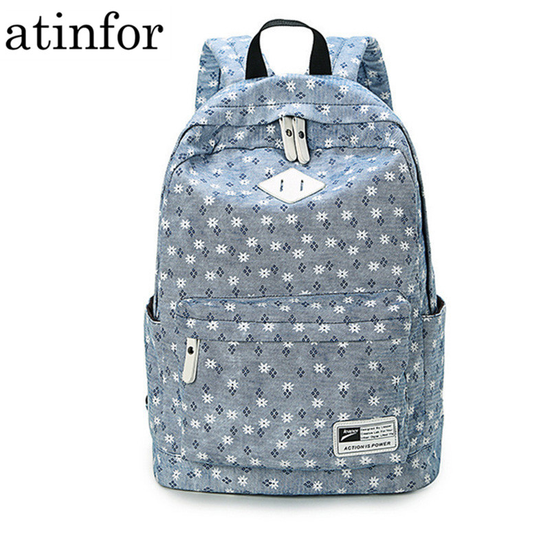 Atinfor Brand Design Fresh Cute Book Bags Floral High Quality Canvas Printing Backpack Women School Backpacks For Teenage Girl