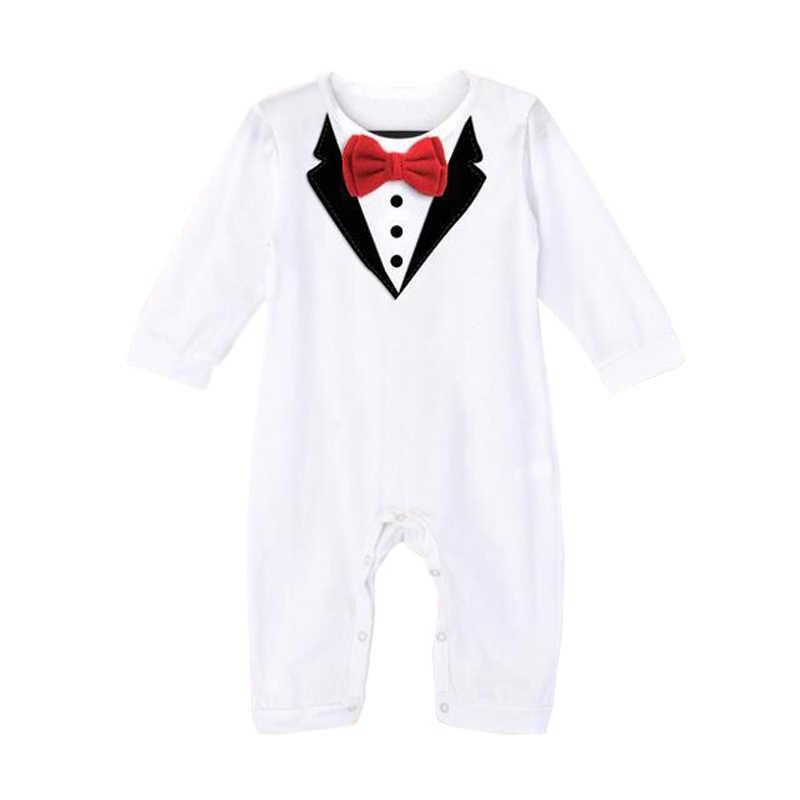 2018 брендовые Детские комбинезоны, костюмы для мальчиков, вечерние смокинг для свадьбы, одежда с бантом для маленьких мальчиков, черно-белая одежда для новорожденных
