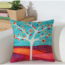 45*45 см с цветочным рисунком дерево льняные наволочки