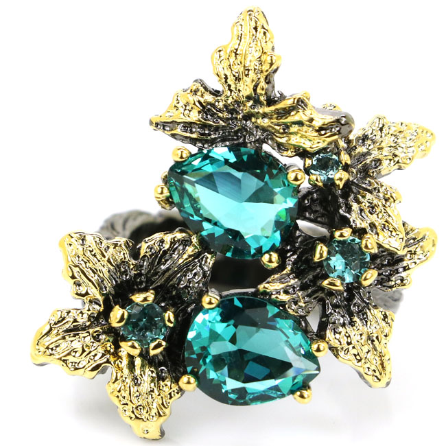 7.5# Sublime Antique Vintage Rich Blue Aquamarine Womans Black Gold 925 Silver Ring 34x24mm