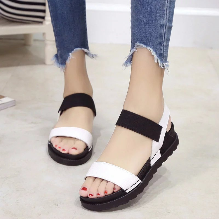 Slip on women Slipony flat shoes thick sole lady platform Leather open toe woman ankle strap Peep Toe Sandals black White Silver size 35 39 pointy toe flat platform shoes pigskin leather shoes black white color slip on women s shoes