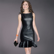 Sexy Women Black Faux Leather Dress
