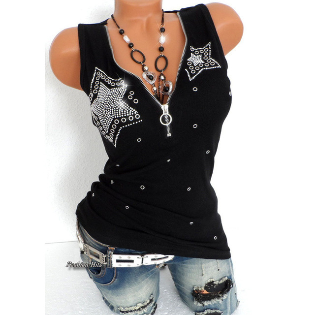 Good Stretch 5 Stars Beading Tee Cotton T-Shirt Women Summer T Shirts Sexy Zipper V Neck Sleeveless Top Black Plus Size 5XL Vest