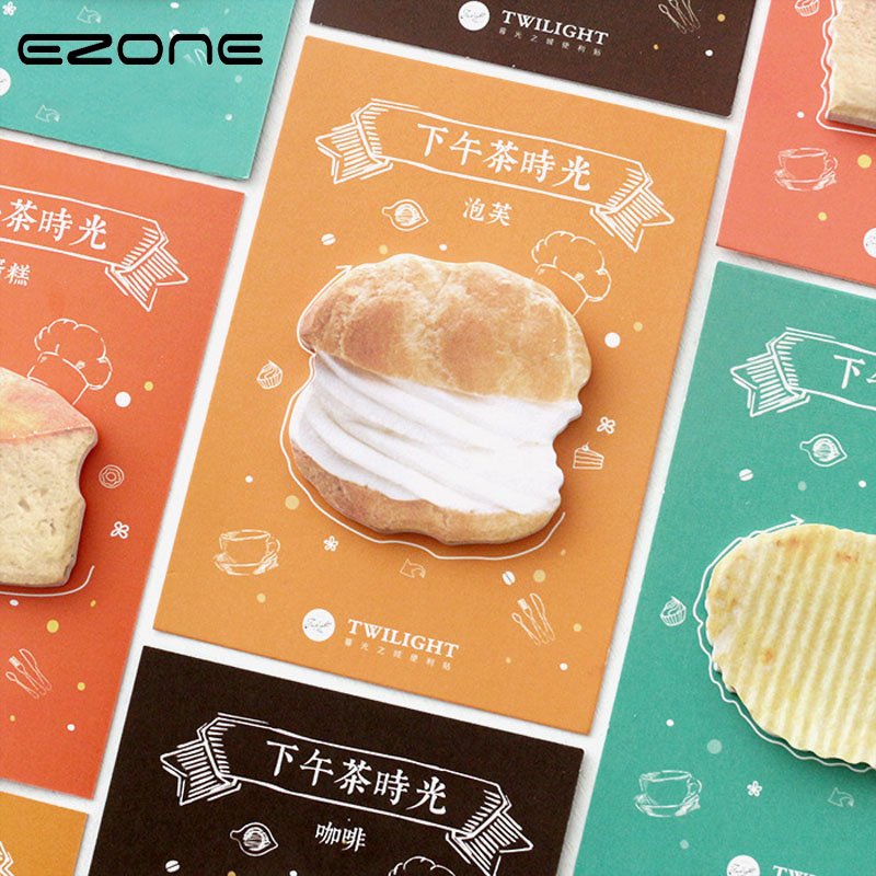EZONE Creative Snack Memo Pad Paper Sticker Puff/ Cake/ Chips Afternoon Tea Sticky Note Post It Kawaii Gift Stationery Papelaria