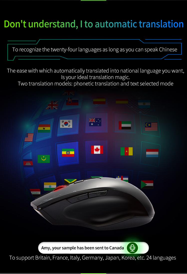 Cerreat Smart Voice Translation Mouse Portable Instant Intelligent speech translateTypingSearch 2.4G Wireless Mouse with Enter Key 24 Target Languages (5)