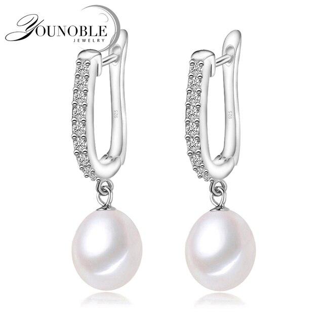 YouNoble подлинная серебро 925 жемчужные серьги свадебные для женщин, падение пресноводные жемчужные серьги подарок на день рождения дочери розовый белый