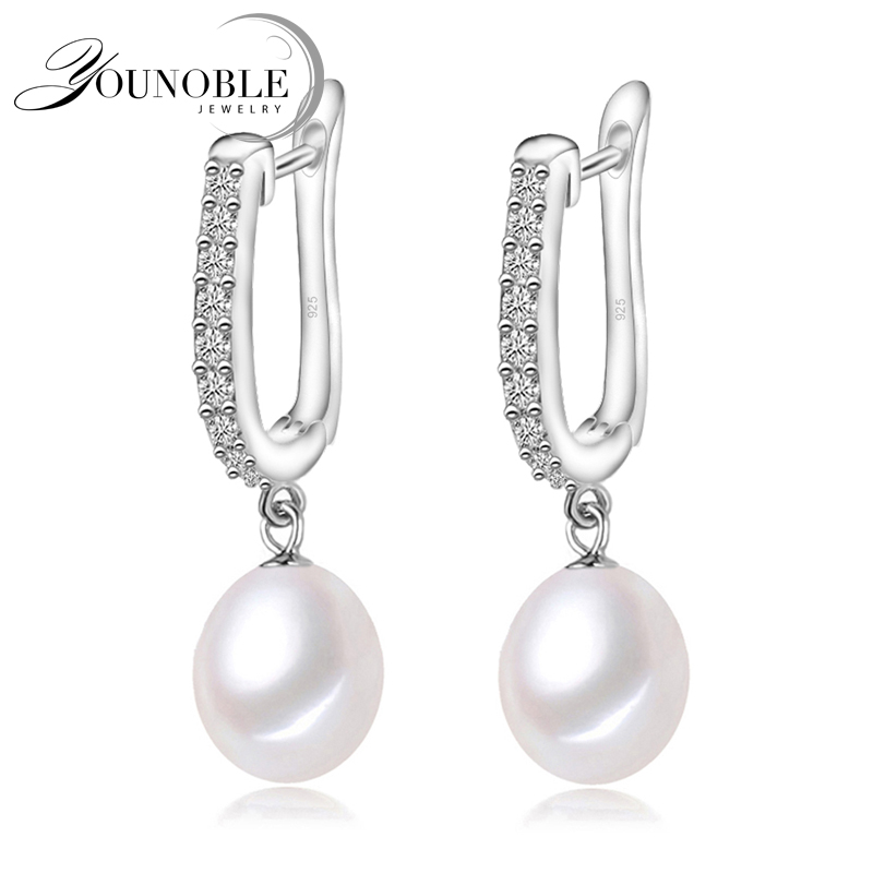 YouNoble genuine 925 font b silver b font font b earrings b font pearl wedding for