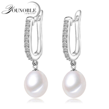 YouNoble genuine 925 silver earrings pearl wedding for women,drop freshwate pearl earrings birthday gift daughter pink white