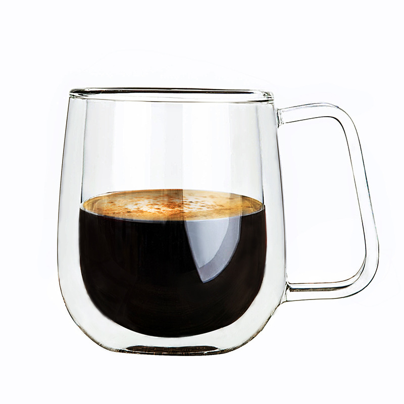 double wall glass insulated coffee mugs tea cup thermo drinking glasses verre double paroi theeglas with handle for home office