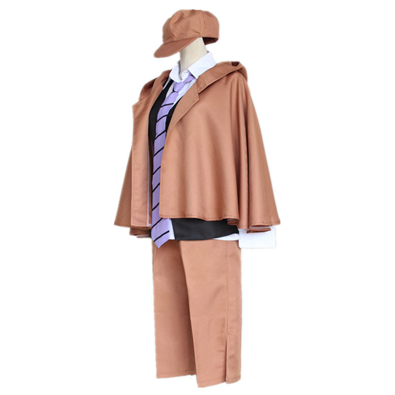 Anime Bungo Stray Dogs Detective Ranpo Edogawa Cosplay Costumes Vest & Cloak & Pants & Tie & Hat Uniform Suit Outfit