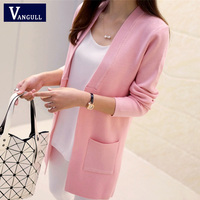 New High Quality Women Spring Autumn Medium Long Cardigan 2016 New Female Elegant Pocket Knitted Outerwear