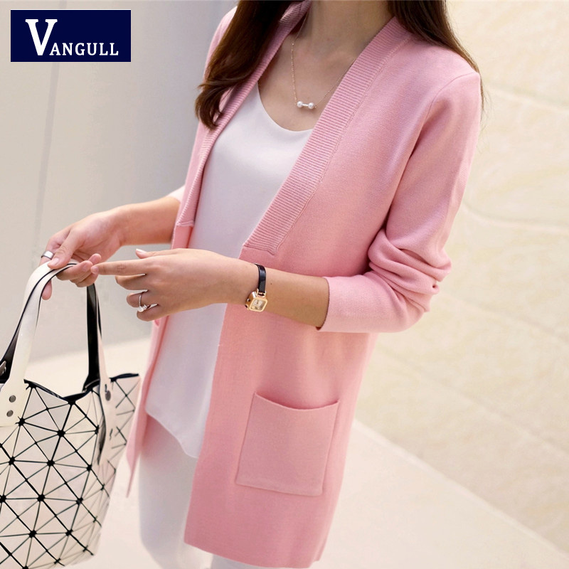 Nueva alta calidad mujer primavera otoño medio largo Cardigan 2016 Nueva mujer elegante bolsillo de punto prendas de abrigo suéter cabo Top
