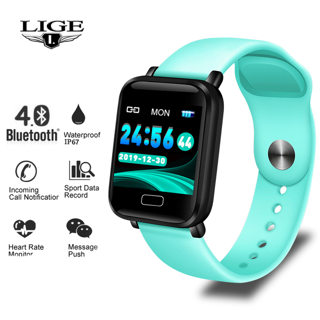 LIGE Smart Bracelet Women Men Sport Fitness Tracker Waterproof Smart Wristband Heart Rate Monitor Pedometer Pulsera inteligente