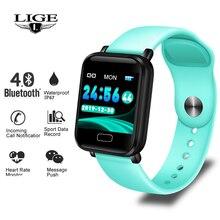 LIGE inteligentna bransoletka kobiety mężczyźni sport tracker fitness inteligentny zegarek wodoodporny z paskiem Monitor pracy serca krokomierz inteligentne bransoletka