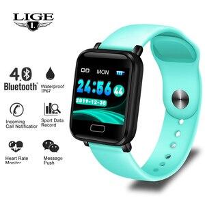 Image 1 - LIGE inteligentna bransoletka kobiety mężczyźni sport tracker fitness inteligentny zegarek wodoodporny z paskiem Monitor pracy serca krokomierz inteligentne bransoletka
