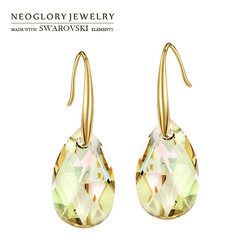 Neoglory Austria Crystal Long Drop Earrings Exquisite Water Drop Style Light Yellow Gold Color Classic Wholesale Trendy Women