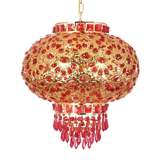 Bohemia FREE SHIPPING 2013 Festival lantern red crystal lantern balcony pendant light rotation BXY19