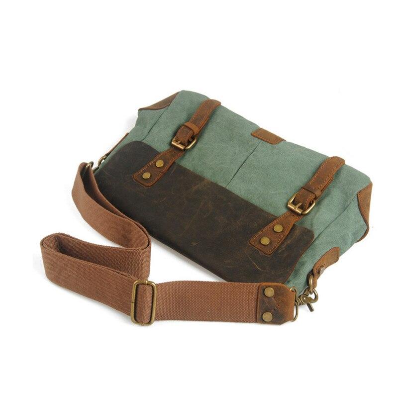 Bagaj ve Çantalar'ten Çapraz Çantalar'de Vintage Crossbody Çantası Askeri Tuval omuz çantaları Çılgın at erkek omuz çantası erkekler Eğlence Çanta Tote Evrak Çantası Y143'da  Grup 2