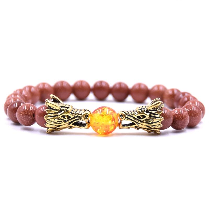 HYHONEY 8MM Natural Stone Beads Bracelet For Men bileklik Men Jewelry Dragon pulseras 12