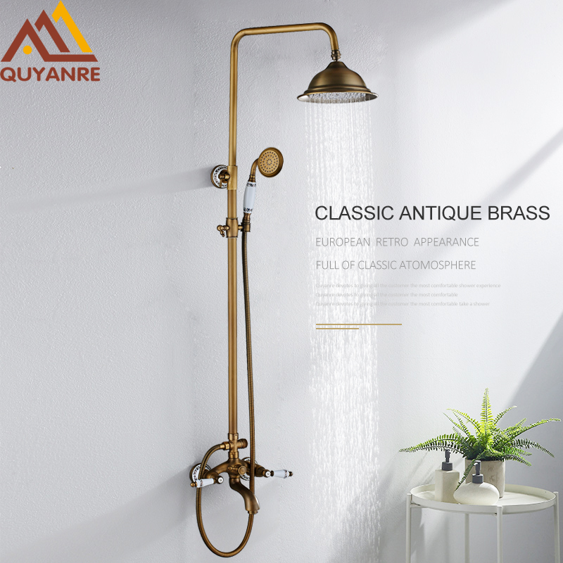 Quyanre Antique Brass Shower Faucet Set Porcelain Deco Bathtub Shower Kit Spray Dual Knobs Mixer Tap Swivel Tub Spout quyanre antique brass shower faucets set 8 rainfall shower head commodity shelf handle mixer tap swivel tub spout bath shower