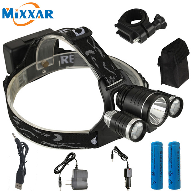 ZK50 8000LM LED lighting Head Lamp T6+2Q5 LED Headlamp Headlight for Camping Fishing Bike +2*18650 battery+Car charger+1*USB