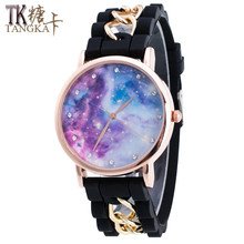 Leisure fashion ladies watch sky clockwise according to circular dial high quality rubber strap metal bracelet