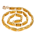 24K Solid Gold Filled real two-sided sequence sand Cuban Link Chain Necklace 23.6inch FREE SHIPPING