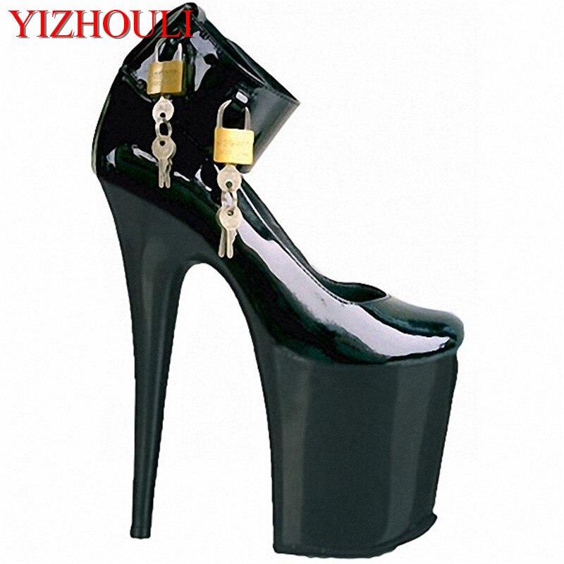 20 cm chaussures Sexy à talons hauts, combinaison unique d'une seule chaussure, ruban noir magique et talons hauts