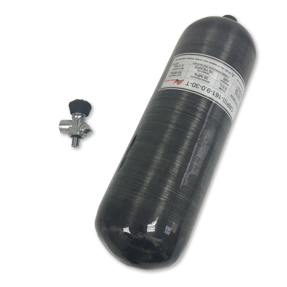 AC30931 9L GB Black Cylinder For Diving Oxygen Cylinder Airforce Condor Pcp Bucking Airsoft Pcp Station Regulator Pcp Acecare
