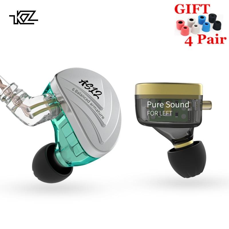 KZ AS12 12BA Balanced Armature Drives In Earphones HIFI Sport Monitor Headset Noise Cancelling Earbuds earphones