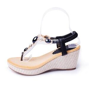 Image 2 - BEYARNE summer new sweet slope with female high heeled sandals women Bohemian diamond students shoes flip flops