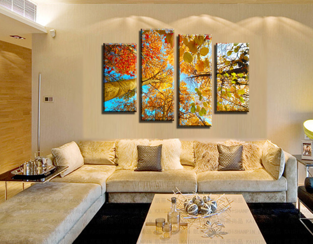 Perfekt 4 Painel Moderne Die Impresso Gelben Baum Wohnkultur Pele Wohnzimmer HD  Leinwand Malerei Artwork Recados Arte