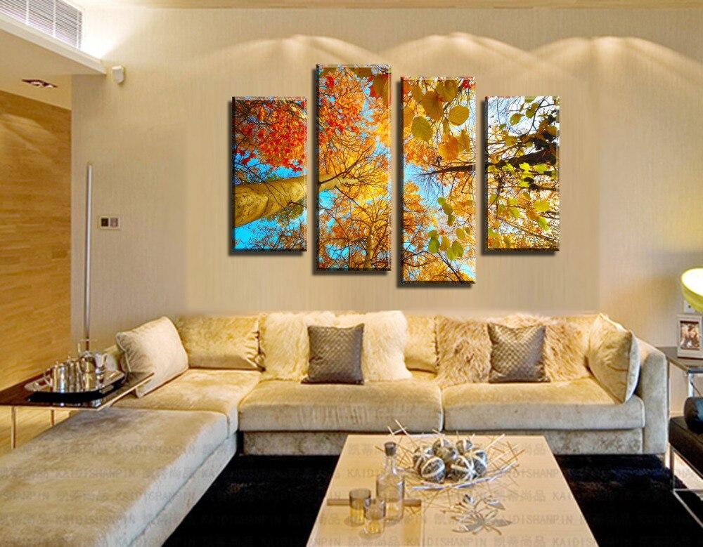 4 Panel Moderne Baskılı Die Gelben Baum Wohnkultur Kürk Wohnzimmer HD  Leinwand Malerei Yapıt Duvar Sanat Das Bild (ungerahmt)