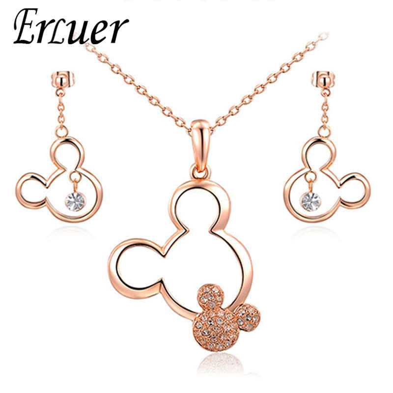 ERLUER Jewelry Sets Mickey Pendant Necklace Drop Earrings Austrian Crystal Weeding Necklaces Set For Women Girls Gift Jewellery