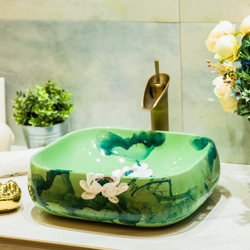 Europe Style Luxury Bathroom Vanities Chinese Jingdezhen Art Counter Top  Ceramic Restaurant Wash Basin Bathroom Sinks Great Ideas