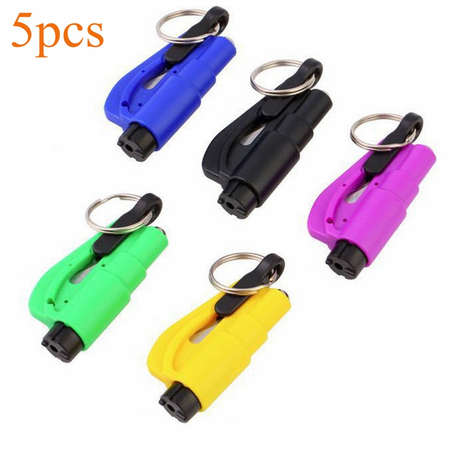 Spirited 5 Pieces Car Auto Mini Safety Glass Window Breaking Hammer Emergency Escape Rescue Tool With Keychain Seat Belt Knife Cutter Hammer