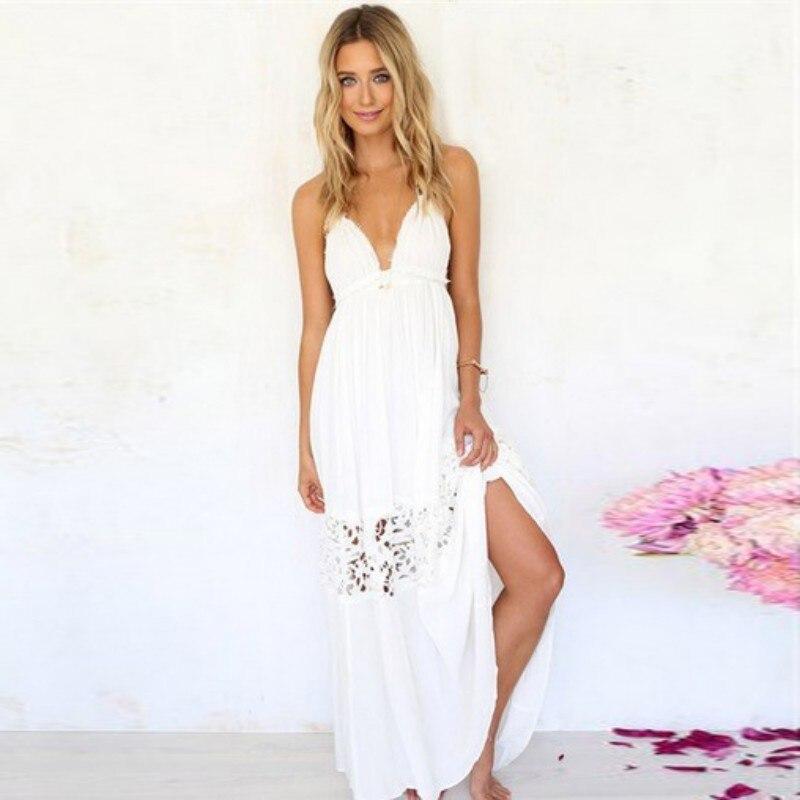 Drop Shipping Summer Halter Lace Dress Win white Hot Girl Sexy Club Sleeveless Dress Wear Women Clothes 2018 Women Dress